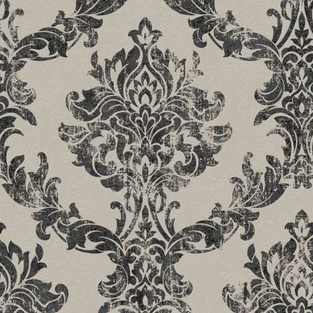 Graham & Brown Boutique Opal Damask Charcoal and Gold Wallpaper