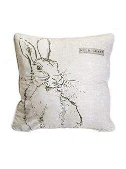 Printed Wild Heart Hare Cushion