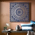 Graham & Brown Blue Embellished Ink Fabric Wall Art