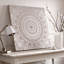 Graham & Brown Cream Embellished Cocoon Fabric Wall Art