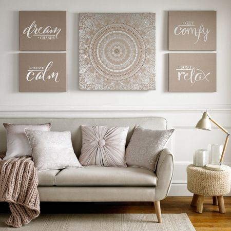 Graham & Brown Create Calm Embellished Fabric Wall Art
