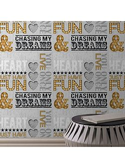 Dreams Quotes Motif Grey/Gold Wallpaper