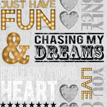 Graham & Brown Dreams Quotes Motif Grey/Gold Wallpaper