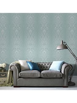 Glamour Damask Blue/White Wallpaper