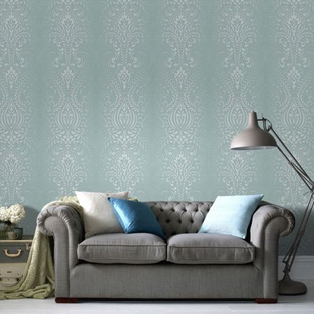 Graham & Brown Glamour Damask Blue/White Wallpaper