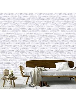 White Realistic Brick Wall Effect Wallpaper 10m