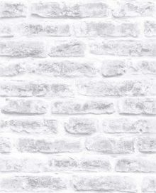 Graham & Brown White Realistic Brick Wall Effect Wallpaper 10m