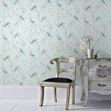 Graham & Brown Songbird Duck Egg Wallpaper