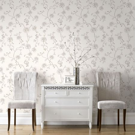 Graham & Brown Rose Floral Champagne Glitter Wallpaper