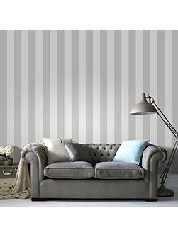 Sparkle Stripe White/Silver Wallpaper