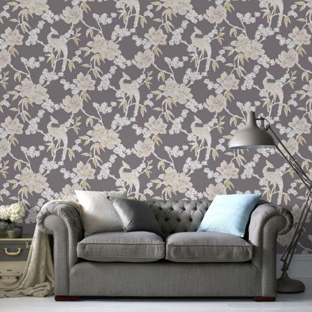 Graham & Brown LLB Singapore Floral Oriental Grey Wallpaper