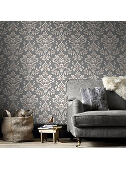 LLB Johor Damask Subtle Glitter Grey Wallpaper