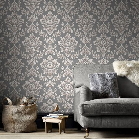 Graham & Brown LLB Johor Damask Subtle Glitter Grey Wallpaper