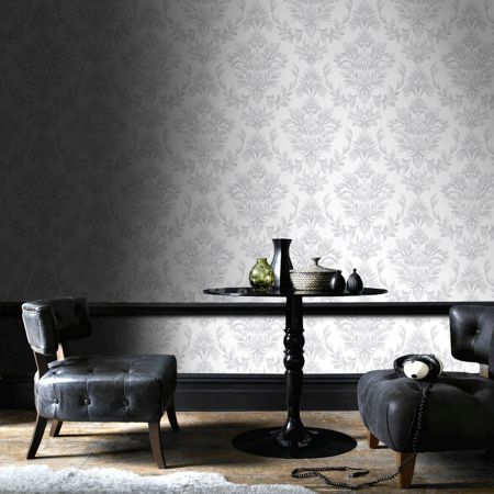 Graham & Brown LLB Johor Damask Subtle Glitter Silver Wallpaper