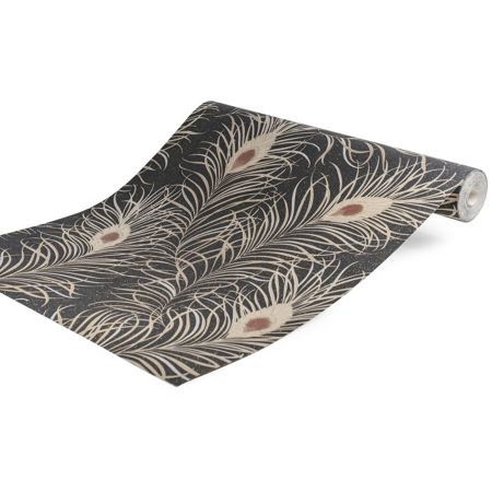 Graham & Brown LLB Selangor Feather Black/Gold Wallpaper