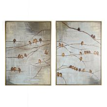 Graham & Brown Flock of birds handpainted framed canvas