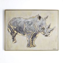 Graham & Brown Metallic rhino handpainted framed canvas