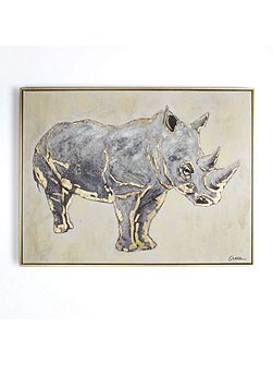 Metallic rhino handpainted framed canvas
