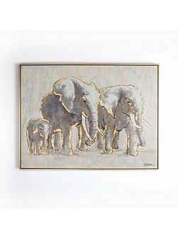 Metallic elephant family handpainted frame canvas