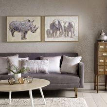 Graham & Brown Metallic elephant family handpainted frame canvas