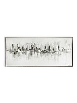 New york reflections handpainted framed canvas