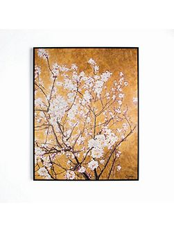 Oriental blossom hand painted framed canvas