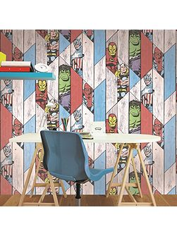 Wood Panel Thor Spiderman Hulk Wallpaper