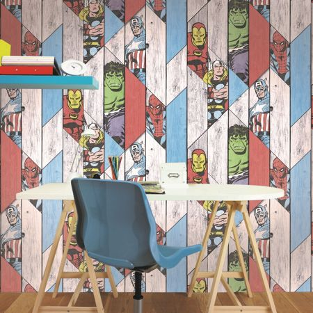 Graham & Brown Wood Panel Thor Spiderman Hulk Wallpaper
