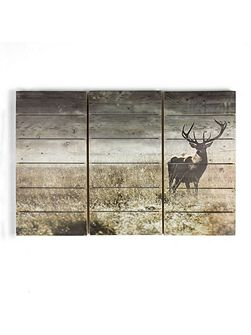 Highland stag print on wood