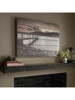 Tranquil jetty print on wood