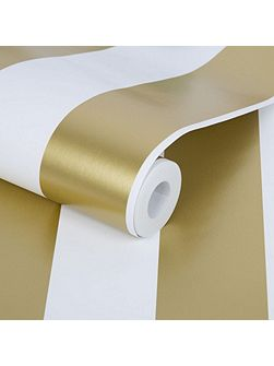 Gold Metallic Stripe Wallpaper