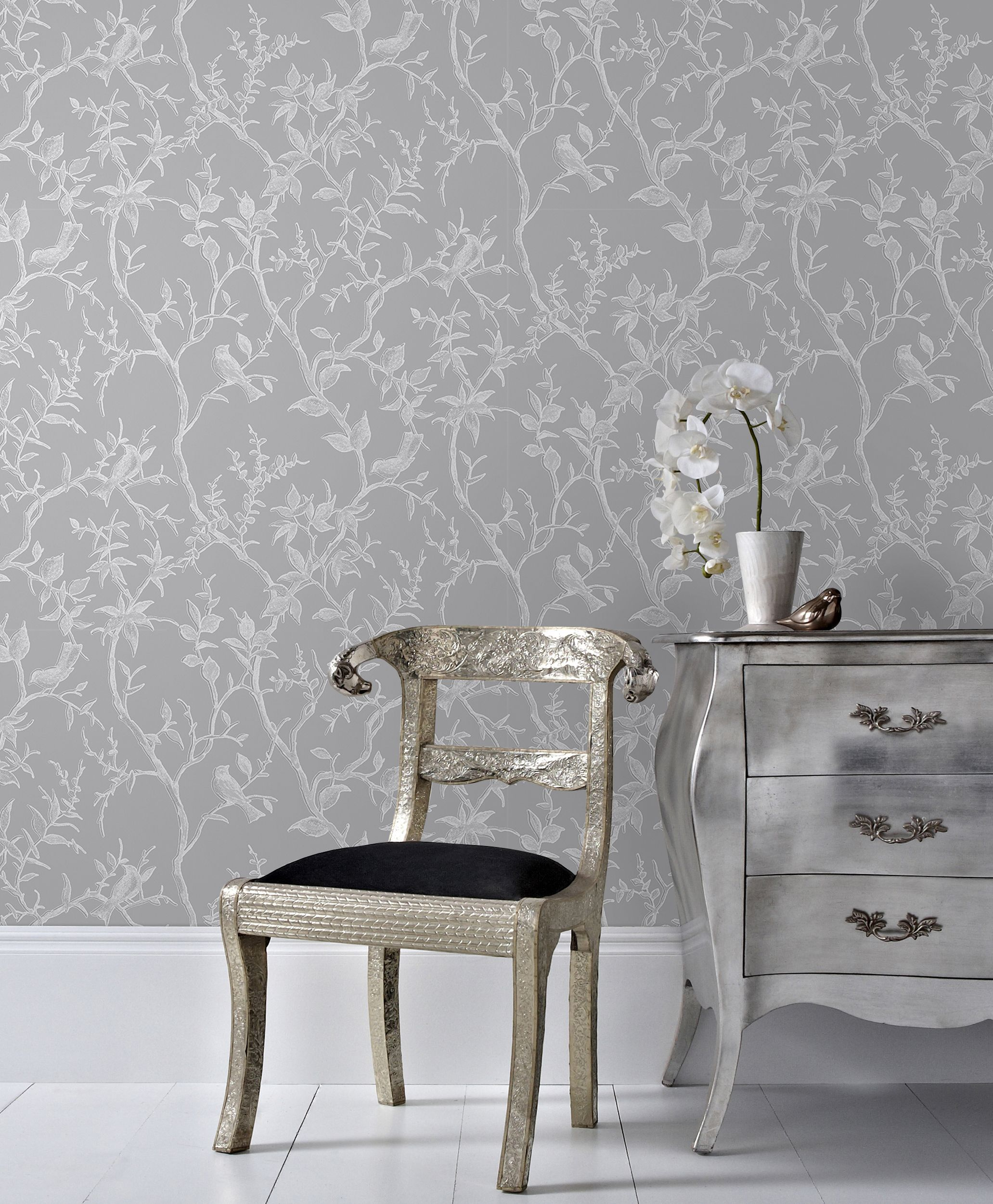 Graham brown grey silver laos trial wallpaper for Grey dining room wallpaper