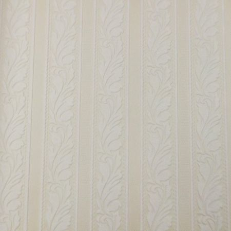 Graham & Brown White Traditional Leaf Stripe Wallpaper