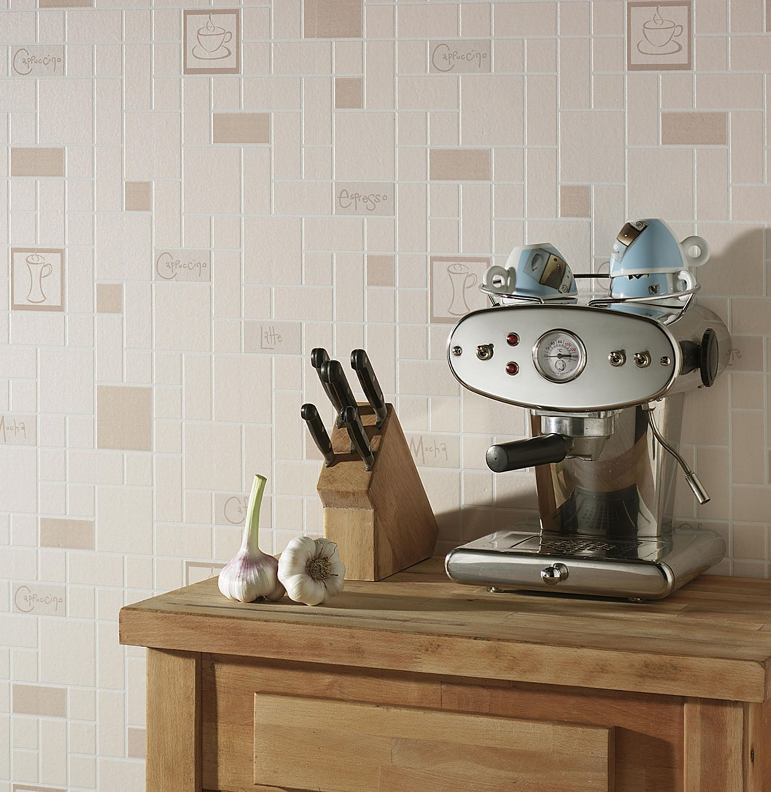 Beige cafe culture wallpaper