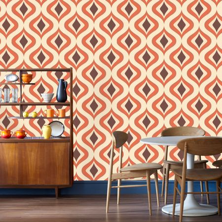 Graham & Brown Choc/orange trippy wallpaper