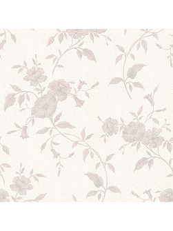 White & Grey Floral Tapestry Wallpaper