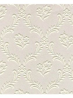 White floral trellis wallpaper