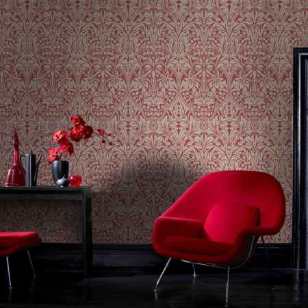 Graham & Brown Red manor house wallpaper