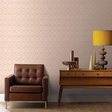 Graham & Brown Beige Small Damask Wallpaper