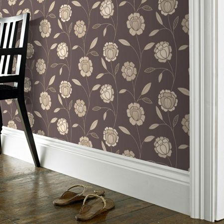 Graham & Brown Chocolate/gold charming wallpaper