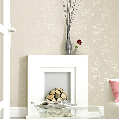 Graham & Brown Cream/mica bijou wallpaper
