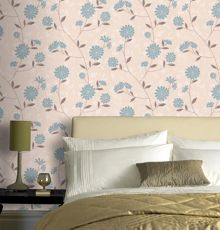 Graham & Brown Cream teal botanic wallpaper