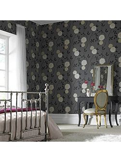 Charcoal Floral Shaan Wallpaper
