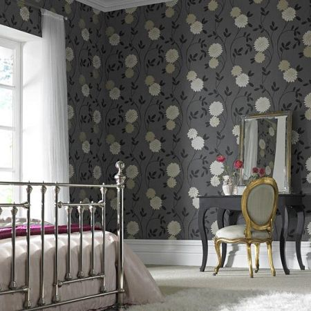 Graham & Brown Charcoal Floral Shaan Wallpaper