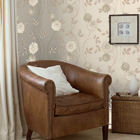 Graham & Brown Cream & Gold Shaan Floral Wallpaper
