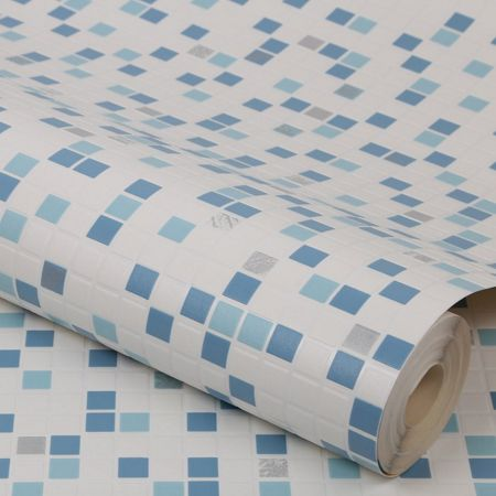 Graham & Brown light blue checker wallpaper