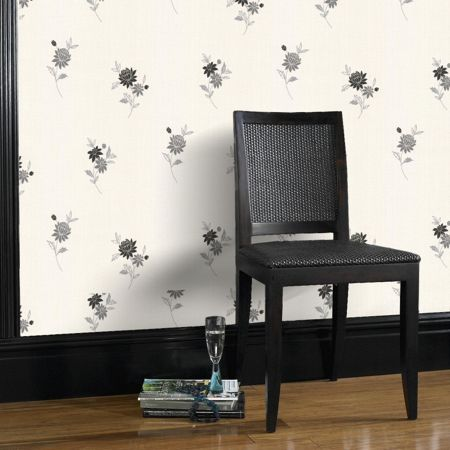 Graham & Brown Black & white rosalyn wallpaper
