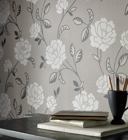Graham & Brown Grey Fleur Wallpaper
