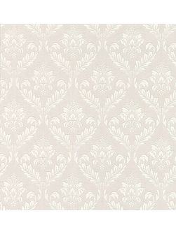 White medium damask wallpaper