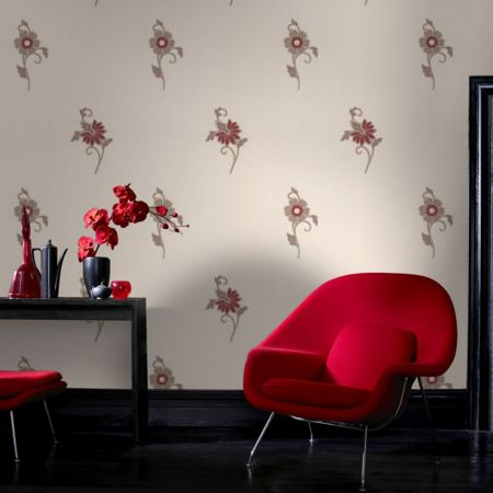 Graham & Brown Red floral motif vesta wallpaper
